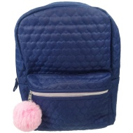Quilted Backpack - Navy & Pink