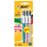 Bic 4 Colour Shine Pens 3pk