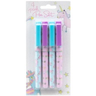 Fashion Ball Pens 4pk - Unicorn