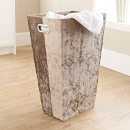 Crushed Velvet Laundry Hamper - Gold