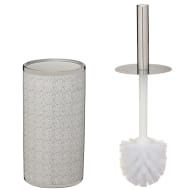 Metallic Printed Toilet Brush - Silver Spots