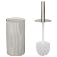Metallic Printed Toilet Brush - Silver Stripes