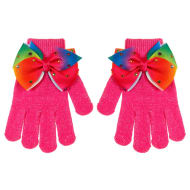 Kids Bow Gloves - Hot Pink