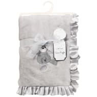 Little Dreams Satin Ruffle Blanket - Grey
