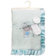 Little Dreams Satin Ruffle Blanket - Mint