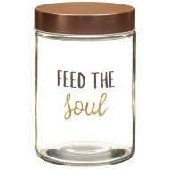 Glass Storage Jar & Copper Lid - Feed the Soul