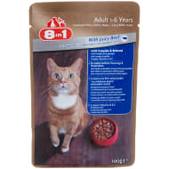 8-in-1 Cat Food Pouch 100g - Beef