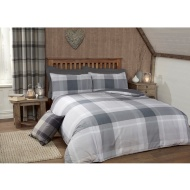 Tara Woven Check Double Duvet Set - Grey