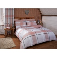 Tara Woven Check Double Duvet Set - Blush