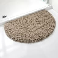 Shaggy Half Moon Bath Mat - Brown