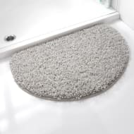 Shaggy Half Moon Bath Mat - Grey