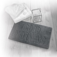 Beldray Slogan Bath Mat - Good Morning Charcoal