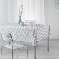 Home & Co Printed Tablecloth 132 x 230cm - Grey Chevron