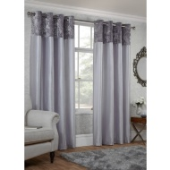 Crushed Velvet Top Border Thermal Eyelet Curtains 90 x 90