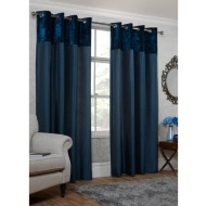 Crushed Velvet Top Border Thermal Eyelet Curtains 46 x 54