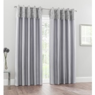 Crushed Velvet Top Border Thermal Eyelet Curtains 66 x 90
