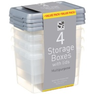 Plastic Storage Boxes with Lids 4pk - Grey