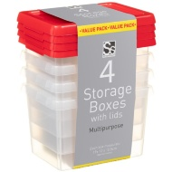 Plastic Storage Boxes with Lids 4pk - Red