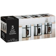 Glass Storage Canisters 3pk - Chrome