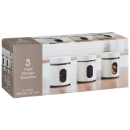 Glass Storage Canisters 3pk - White