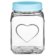Large Heart Glass Jar - Aqua
