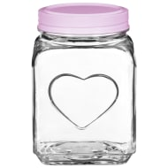 Large Heart Glass Jar - Pink