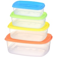Plastic Storage Containers with Snap Tight Lids 4pk
