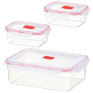 Fresh Clip Plastic Storage Containers 3pk - Red