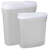 Plastic Containers with Flip Top Lid 2pk - White