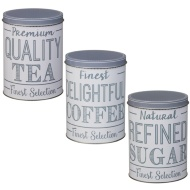 Set of 3 Canisters - Tea, Coffee, Sugar