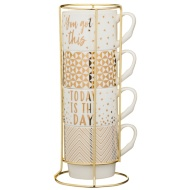 Stacked Mugs 4pk - Gold