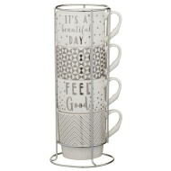 Stacked Mugs 4pk - Silver