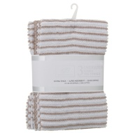 Karina Bailey Stripe Rib Tea Towels 3pk - Natural
