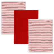 Karina Bailey Stripe Rib Tea Towels 3pk - Red