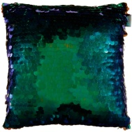 Iridescent Sequin Cushion - Green & Blue