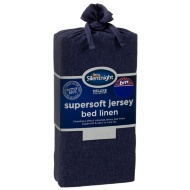 Silentnight Jersey Single Fitted Sheet - Navy