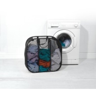 Beldray Pop-Up Mesh Triple Sorter Laundry Bag - Black