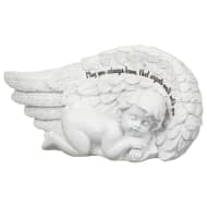 Glitter Wing Sentiment Statue - Angels Walk With You