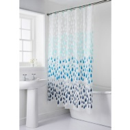 Shower Curtain & Mat Set 2pc - Rain Drops