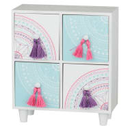 4 Drawer Set with Tassels - Pink & Purple