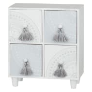 4 Drawer Set with Tassels - Silver