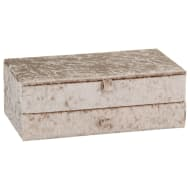 Large Crushed Velvet Jewellery Box - Natural