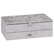 Large Crushed Velvet Jewellery Box - Silver