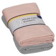 Polar Fleece Blankets 2pk - Grey & Blush