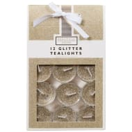Glitter Tea Lights 12pk - Gold