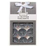 Glitter Tea Lights 12pk - Grey