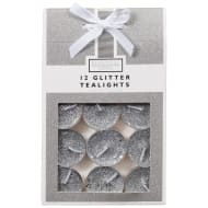 Glitter Tea Lights 12pk - Silver