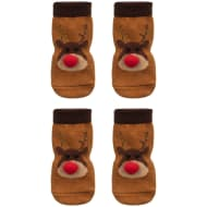 Christmas Dog Socks with Pom Poms 2pk - Reindeer
