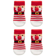 Christmas Dog Socks with Pom Poms 2pk - Santa