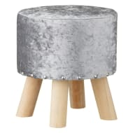 Studded Footstool - Silver